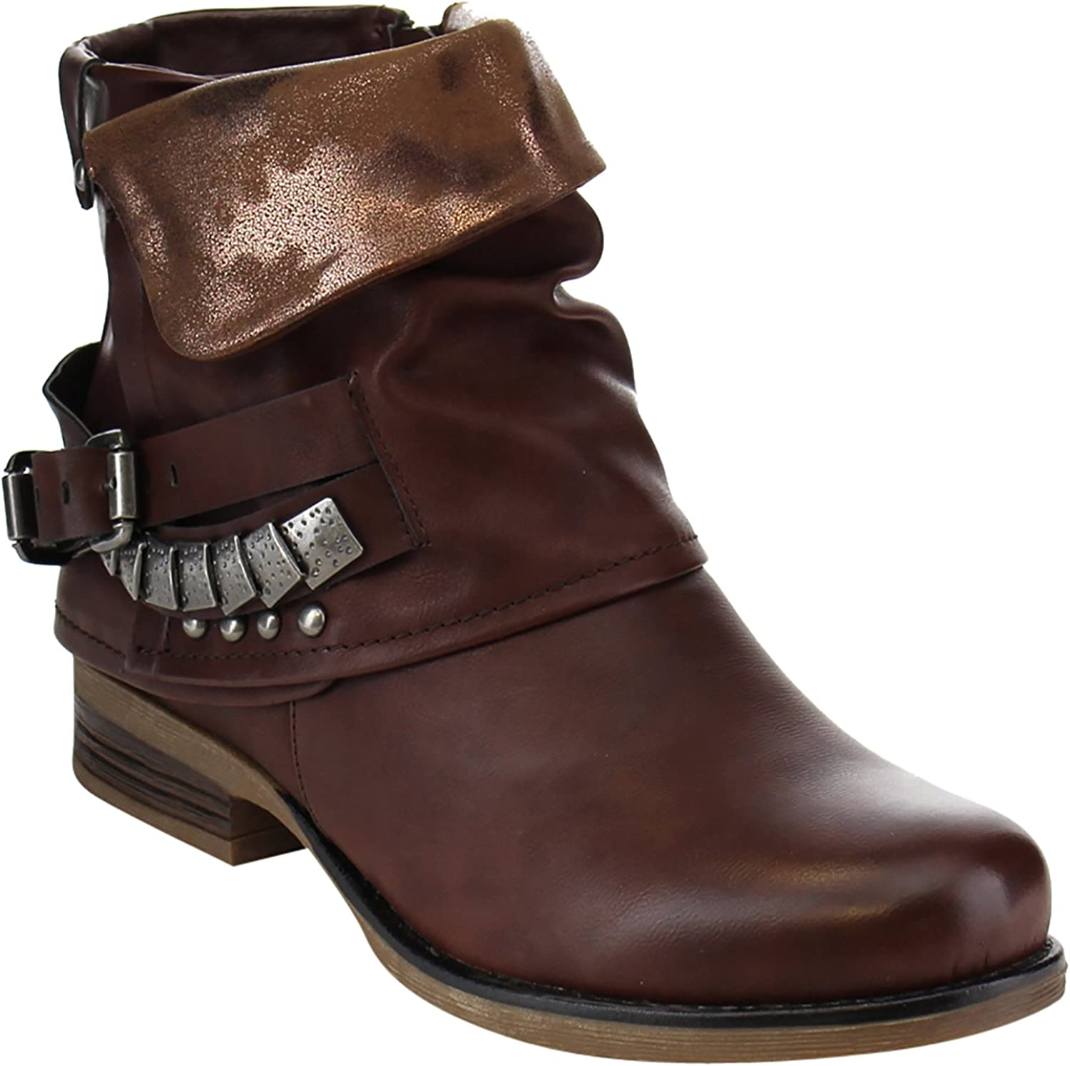Fold-over Slouchy Buckled Strap Studs Ankle Booties Women's Boots