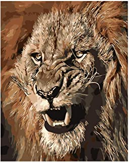 Yrhfys Painting by Numbers DIYFierce and Angry Lion King Animal Canvas Wedding Decoration Art Picture Gift-40*50cm(Frameless)