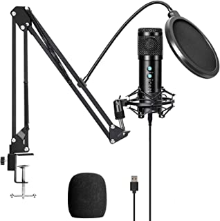 USB Condenser Microphone Kit for Computer, Adjustable Metal Arm Stand,Computer Mic 192kHz/24bit for Professional Streaming...