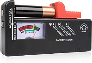 Battery Tester Checker – Battery Tester Monitor for AAA, AA, C, D, 9V and Small Batteries, Battery Life Level Testers w/Voltage Power Meter