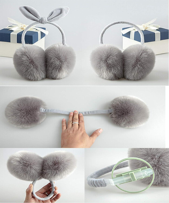 Women's Winter Warm Bowknot Ear Muffs Cute Outdoor Earmuffs, COFFEE