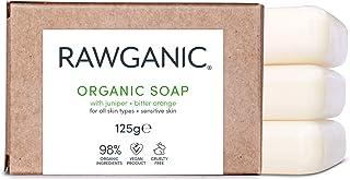 RAWGANIC BIO Seife, für Haare, Hand und Körper - Feuchtigkeitsspendend, mit Extrakten aus Wacholder und Bitterorange - Gegen unreine Haut - Pilztötend und antiseptisch - Biologisch abbaubar