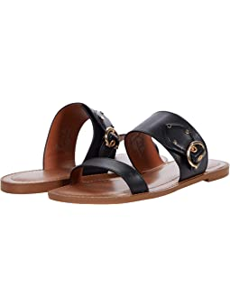 COACH Harlow Sandal,Black Smooth Leather