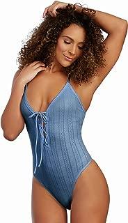 Dreamgirl Women's Pointelle Rib Knit Jersey Bodysuit with Adjustable Neckline