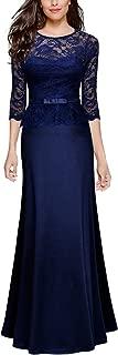 Women's Retro Floral Lace 2/3 Sleeve Slim Peplum Wedding Maxi Dress