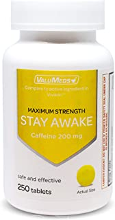 ValuMeds Caffeine Pills (200mg) Fast-Acting Alertness Supplement | Safe, Effective Energy Boost | Restore Clarity, Focus at Home, Work, School | 250 Tablets