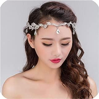 Rhinestone Silver Women Wedding Bridal Forehead Head Chain Headdress Crystal Pendant Bride Tiara Hair Jewelry Accessory,Gold,White