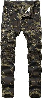 Men's Camo Side Pocket Moto Biker Jeans Camouflage Straight Denim Pants Military Jungle Printed Slim Jean Trousers