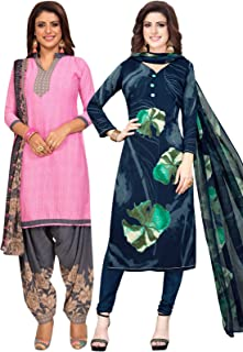 S Salwar Studio Women's Pack of 2 Synthetic Printed Unstitched Dress Material Combo-MONSOON-2862-2891