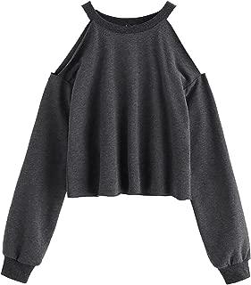 Women's Raw Hem Open Cold Shoulder Top Long Sleeve Heathered Pullover Tee Shirt