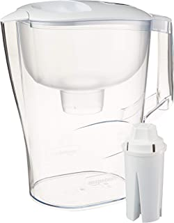 Amazon Basics 10-Cup Water Pitcher with Filter, Compatible with Brita