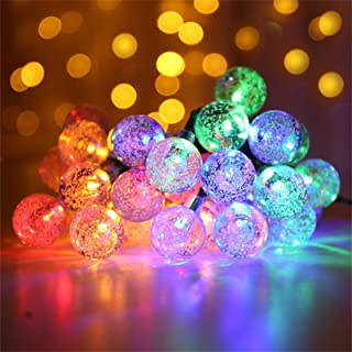 Fantes Solar String Light 30 LED 8 Modes Bubble Ball String Fairy Lights Outdoor Garden Patio Backyard Christmas Party Decoration Solar Lights Cool White, 21ft // 6.5m