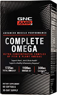 GNC AMP Complete Omega, 60 Softgels, Supports Heart, Joint and Brain Health