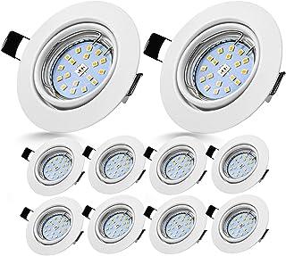 Spots LED Encastrables Orientable Bojim 10x GU10 6W Blanc Neutre 4500K Lumière du jour Spot Encastré Blanc Mat 600lm Equiv...