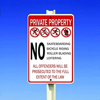 Private Property - No Skateboarding Bicycle Riding Roller Blading Aluminum Metal Sign