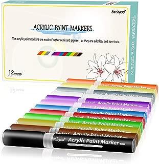 Eachgoo 12 colores Rotuladores Acrilicos Para Dibujo,Pintura,Colorear en vidrio, Tela, Piedras, Cerámica, Metal,Madera, Papel