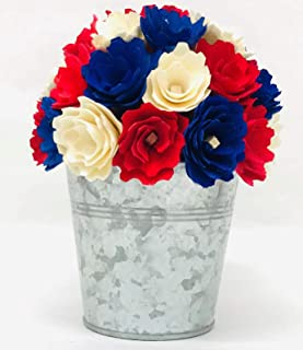 """""""N/A"""" Red White and Blue Wood Chip Flower Arrangement"""