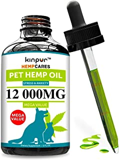 Hemp Oil for Dogs & Cats - 12 000mg - Anxiety Relief for...