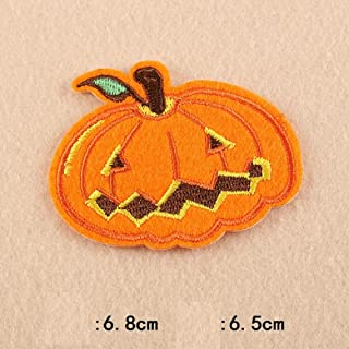 Halloween Pumpkin Embroidery Patches for T-Shirt Iron on Skull Stripes Witch Appliques Clothes Stickers Ghost Clothing Badges (2)