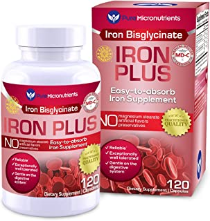 Pure Micronutrients Iron Plus Supplement, Natural Ferrous Chelate, Bisglycinate 25mg + Vitamin C, B6, B12, ...