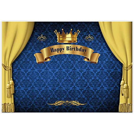 Amazon Com Allenjoy 7x5ft Royal Prince Birthday Party Backdrop For Photography 1st First Blue And Gold Curtain Crown Baby Shower Banner Boy S Kids Event Cake Table Decor Home Decoration Photo Booth Background