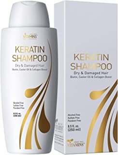 Vitamins Keratin Shampoo Protein Hair Treatment - Exclusive Keratin & Moroccan Argan Oil Dry and Damaged Hair Care Comple...