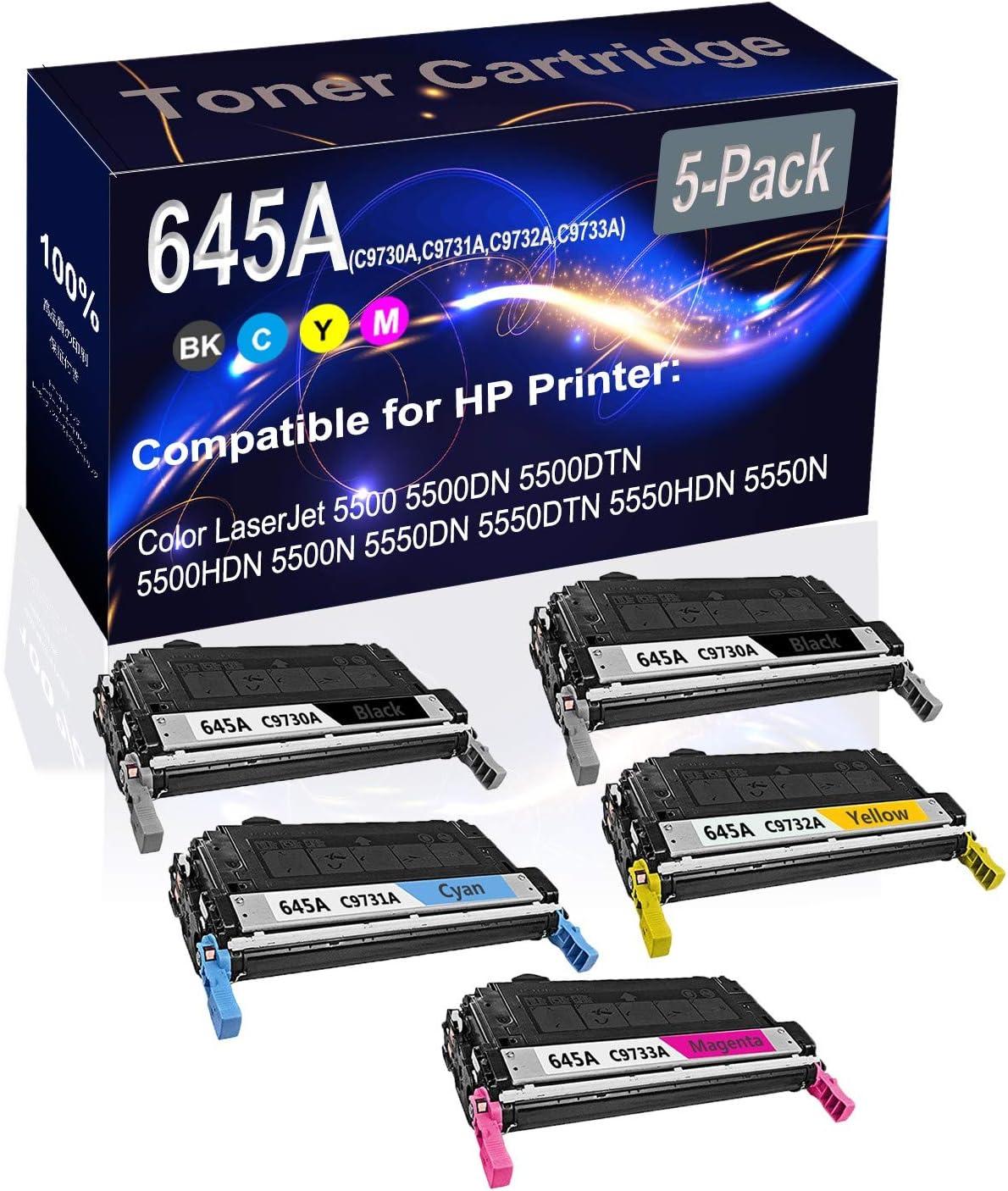 5-Pack (2BK+C+Y+M) Compatible High Yield 645A (C9730A C9731A C9732A C9733A) Printer Toner Cartridge use for HP 5500 5500DN Printers