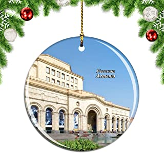 Weekino Republic Square Yerevan Armenia Christmas Xmas Tree Ornament Decoration Hanging Pendant Decor City Travel Souvenir Collection Double Sided Porcelain 2.85 Inch
