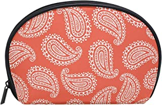 ALAZA Paisley Half Moon Cosmetic Makeup Toiletry Bag Pouch Travel Handy Purse Organizer Bag for Women Girls