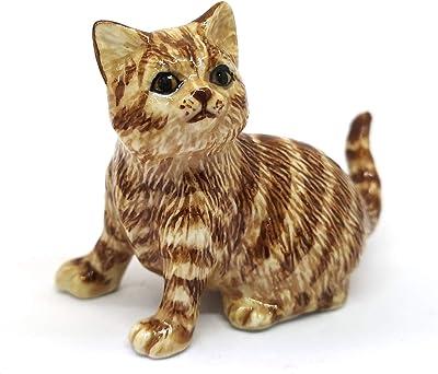 ZOOCRAFT Handmade Miniatures Collectible Ceramic Porcelain Brown Tiger Cat Figurine