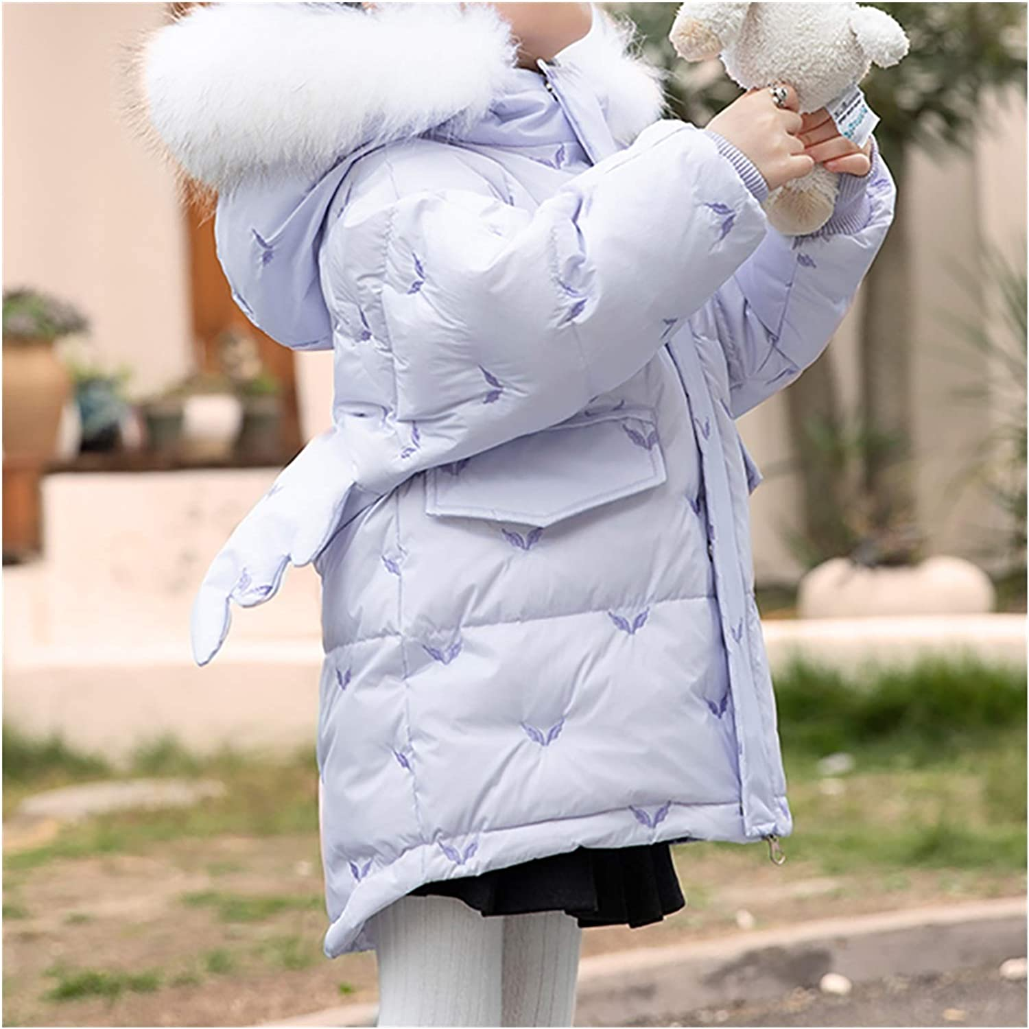 Kid Clothes Girls' Puffer Jacket with Hood Puffer Jacket Warm Outwear Winter Coat Outdoor Parkas Winter Jacket Skin Friendly (Color : Purple, Size : X-Large)