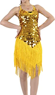 Whitewed Backless Fringe Sequin Salsa Latin Skating Ballroom Dance Dress Styles