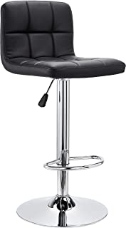 JC Home Roundhill Furniture Swivel Bonded Leather Adjustable Hydraulic Bar Stool, Set of 2, Black