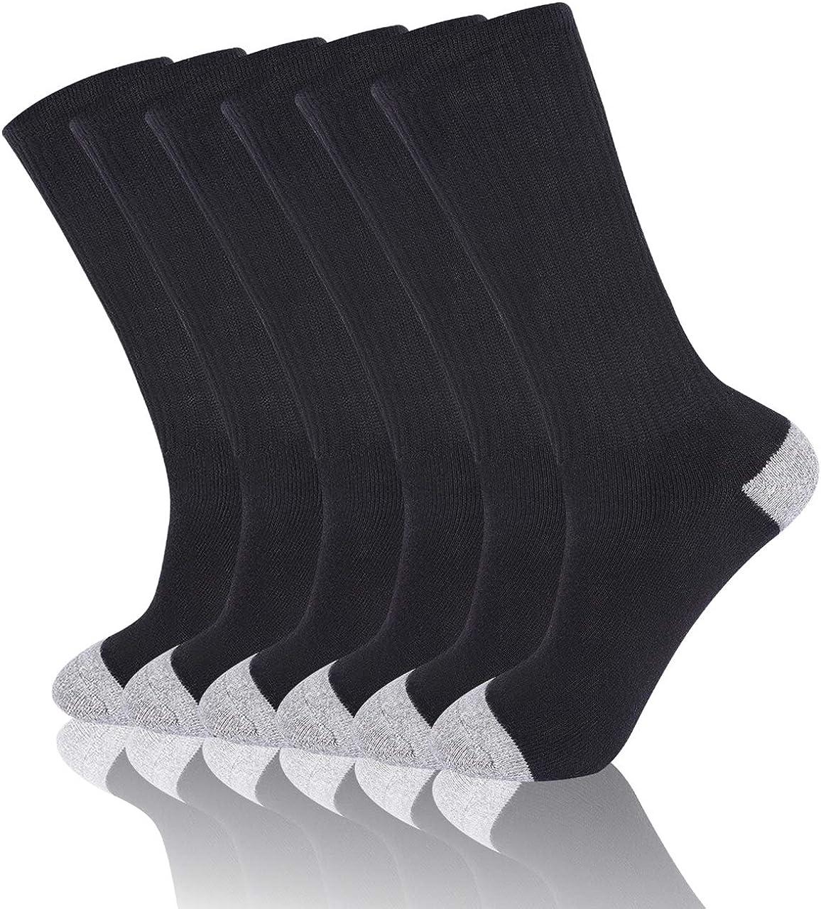 Mens Cushion Crew Socks Moisture Wicking Work Socks 3-6 Pair Mens Thick Socks Cotton 6-12 Hiking Socks