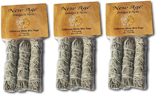 New Age Smudges And Herbs MCWS3 California Mini Sage Wands 4 Inch 3 X Pack Of 3 White