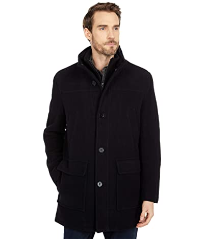 Cole Haan 34 Wool Plush Car Coat (Black) Men