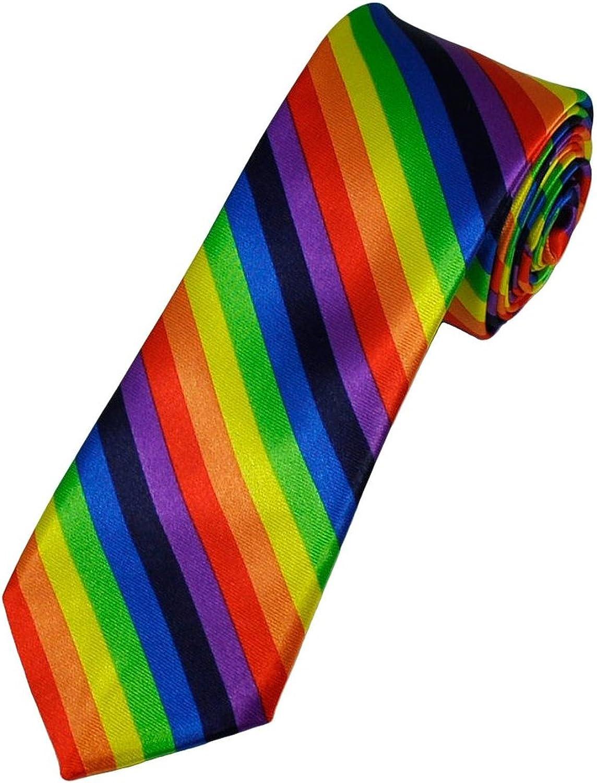 Lynne Carlos Men's Rainbow Stripe 2 Inch Necktie 2021 Max 43% OFF spring and summer new Skinny