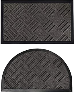Gorilla Grip Natural Rubber Doormats, 35x23 Rectangle and 35x23 Half Circle Heavy Duty Indoor Outdoor Low-Profile Mats in ...