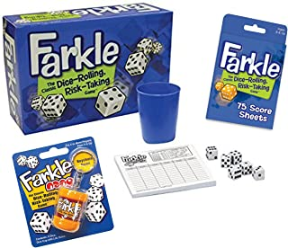 Deluxe Farkle Dice Game Gift Set - Includes Full Size Farkle Game, Pocket Farkle, Scoresheets and Quick Reference Scoring Guide