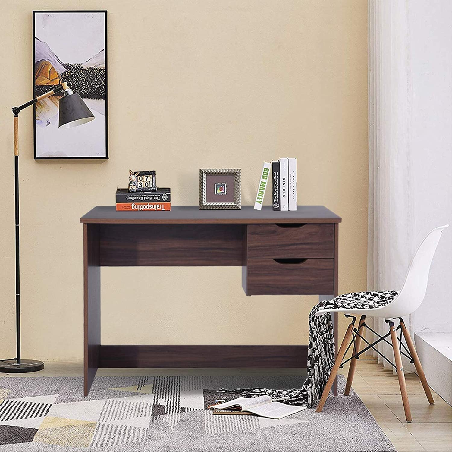 HOMEMAKE Wooden color Computer Desk with 2 Drawer Home Office Writing Table Collection Laptop Desk