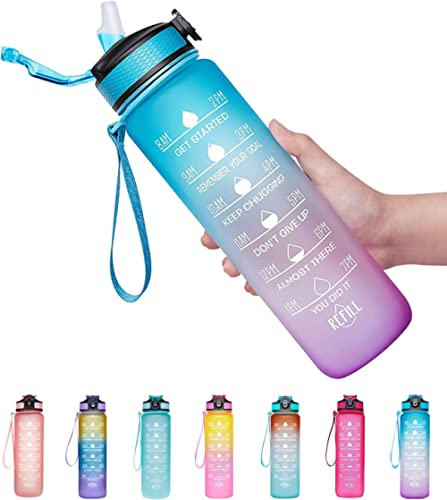 Giotto 32oz Leakproof BPA Free Drinking Water Bottle with Time Marker & Straw to Ensure You Drink Enough Water Throug...