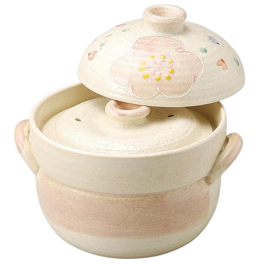 独特の名前を作る不規則な萬古焼 ご飯釜 2合炊き 二重蓋 ピンク花紋 14636