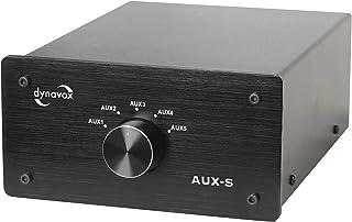 Dynavox AUX-S, ingangs-uitbreidingsschakelaar in metalen behuizing met 5 cinch-ingangen, voor stereo- en surround-versterk...