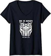 Womens Matthew 28:6 Bible Verse With Tribal Style Cross Graphic V-Neck T-Shirt
