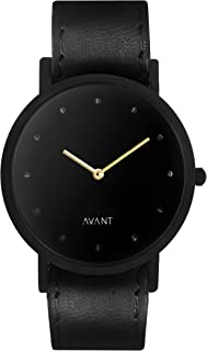 South Lane Stainless Steel Swiss-Quartz Watch with Leather Calfskin Strap, Black, 20 (Model: SS20-dr1-4568)