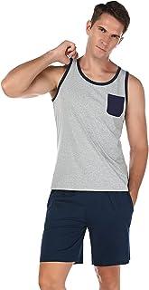 Irevial Conjunto De Pijamas para Hombres Camiseta Sin Mangas y Pantalones Cortos Ropa de Dormir