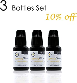[3-bottle Set:10% Off ] 5ml Mia Fast Instant Dry Eyelash Extension Glue Adhesive Low Fume 1 Second Dry Time, Strong Bonding, Up to 6 weeks hold