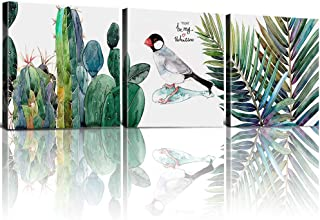 Living Room Wall Art Decor Cactus Tropical Plant Bird Green Leaf Set of 3 Piece 12 x 12 Inch Hawaiian Style Modern Canvas Prints Painting Pictures Ins Yard Bathroom Bedroom Hanging Home Decoration