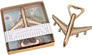"""Youkwer 20 PCS Skeleton Airplane Bottle Opener with """"OUR ADVENTURE BEGINS""""Exquisite Packaging for Wedding Party Favors & Decorations (Dark Gold)"""
