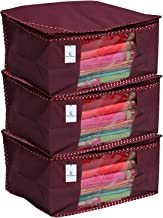 Kuber Industries 3 Piece Non Woven Saree Cover Set, Maroon